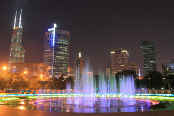 People's Square Shanghai night cityscape China