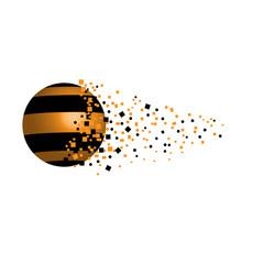 vector de una esfera en 3d como ilustración con rayas negras y doradas y un efecto de dispersión como si se rompiese la esfera y se difuminase en el espacio para de ella
