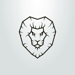 Black and white lion head icon