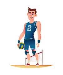 Young volleyball player standing on the volleyball playground. Funny cartoon character design. Vector illustration.