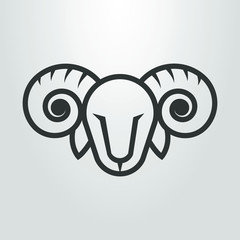 Black and white ram head icon