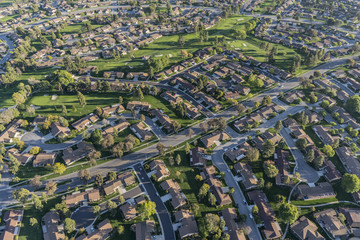 Aerial view of homes and adjacent golf course in suburban Camarillo California.