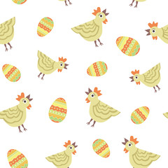 Vector seamless pattern with chicken and eggs. Happy Easter background, wallpaper, packing. Flat colorful illustrations for design and celebration.