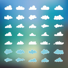 Set of cartoon variety of clouds isolated on blue sky background, Cloudscape. A collection of vector icons, illustrations, drawings. Web design