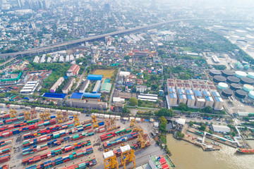 Aerial view ship yard container port terminal in habour