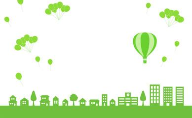 街並みに気球と風船|背景素材