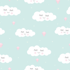 Seamless background from clouds. Lovely children's pattern for decoration. Vector illustration for printing textiles, paper, wallpapers, postcards, printed products.