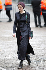 British actor and model Lily Cole arrives at Great St Marys Church, where the funeral of theoretical physicist Prof Stephen Hawking is being held, in Cambridge