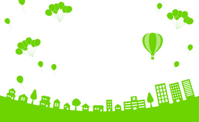 街並みに気球と風船 背景素材