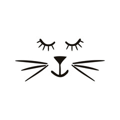 Painted cute vector cat. Creative background for design of cards, covers, textiles, paper, stickers. Children's illustrations for printing.