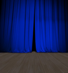 theater blue curtain slightly open and wood stage or scene