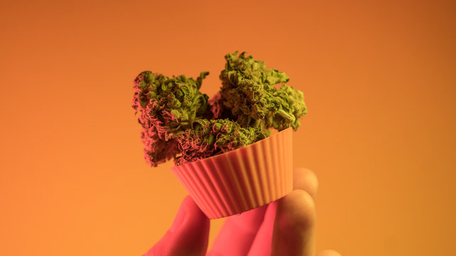 .baking cupcakes and cookies from medical marijuana close-up