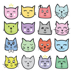 Big set of vector cute cats. A colorful collection of animals for design and printing. Funny illustrations drawn by hand.