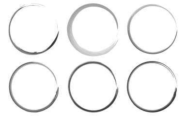 Watercolor rings vector set, black.