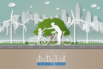 Paper folding art origami style vector illustration. Green renewable energy ecology technology power saving environmentally friendly love concepts Father and son join hands while cycling in city parks