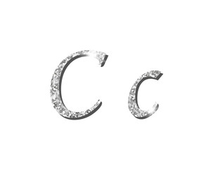 Shinning silver luxury typographic alphabet text word fonts