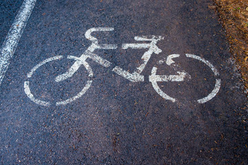 A sign of the cycle track on the wet asphalt in the park.
