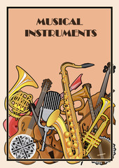 Illustrated poster of musical instruments
