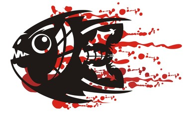 Tribal aggressive fish symbol with bloody splashes. Angry abstract black piranha symbol inspiring fear with blood drops on a white background for your your design