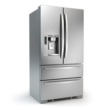 Fridge freezer. Side by side stainless steel srefrigerator  with ice and water system isolated on white background.