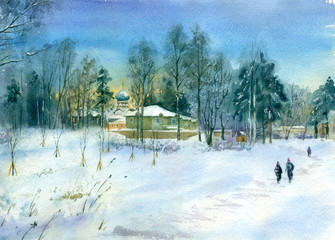 Watercolor painting. Winter landscape. Small Russian Church in the countryside.