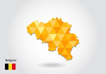 Geometric polygonal style vector map of belgium. Low poly map of belgium. Colorful Polygonal map shape of belgium on white background - vector illustration eps 10.