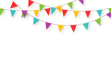 Carnival garland with flags. Decorative colorful party pennants for birthday celebration, festival and fair decoration