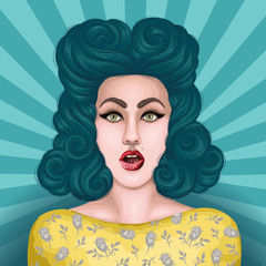 Vector painted shocked pin up girl with open mouth in surprise. Girl with green hair style in retro style.  Isolated on the Pop Art background with sun's rays