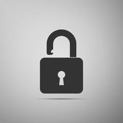 Open padlock icon isolated on grey background. Lock symbol. Flat design. Vector Illustration