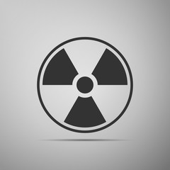 Radioactive icon isolated on grey background. Radioactive toxic symbol. Radiation Hazard sign. Flat design. Vector Illustration