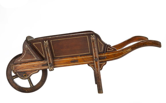Old wooden hand wheel barrow painted and hand made