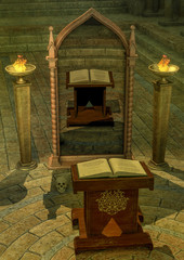 Mystical mirror with a magical altar.