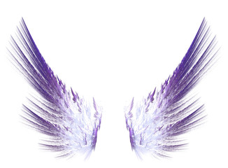 Fractal purple wings on white isolated background