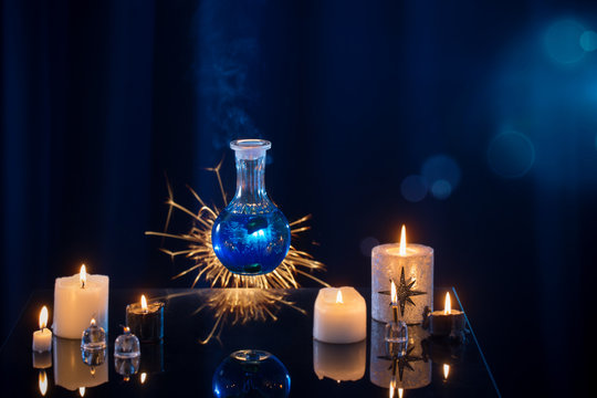 magic potions on a blue background
