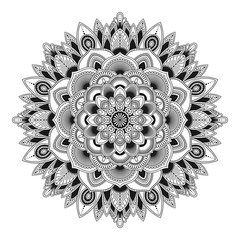 Mandala isolated on white background. Vintage decorative elements. Islam, Arabic, Indian, moroccan, ottoman motifs. Outline hand drawn. Vector illustration.