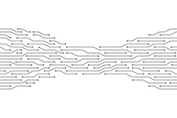 Black circuit  line on the white background vector technology design.