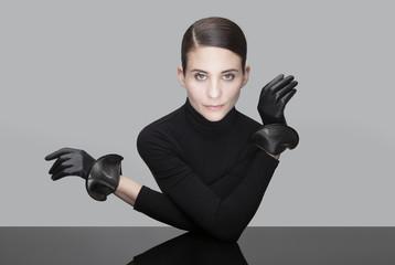 Femme, corps, main, gant, gestuelle, portrait,