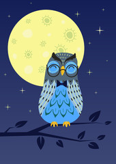 Owl sleeping on tree branch in the night. Vector illustration.