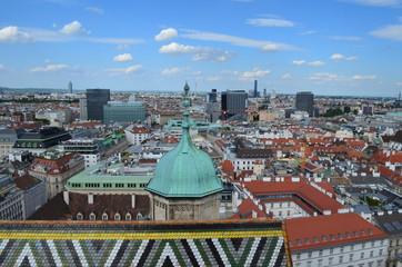 Obraz Wiedeń, widok na miasto z  Czarciego Młyna, panorama - fototapety do salonu