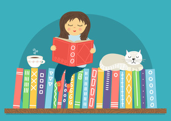 Girl reading book. Little girl siting on bookshelf with white sleeping cat and cup of tea on teal background. Reading, education, learning concept. Cute vector illustration.