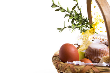 Easter basket isolated on white. Close-up.