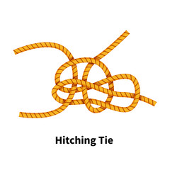 Hitching Tie sea knot. Bright colorful how-to guide on white