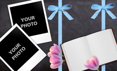 photo frame - tulip, ribbon, book, board