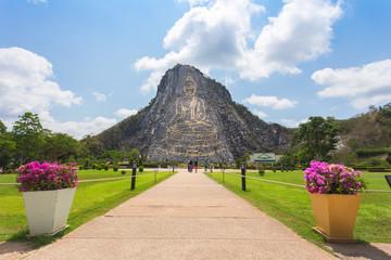 Happy tourists,group traveling Bhudda Mountian at khao che chan, Pattaya, Thailand