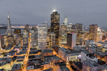 Moonshine over San Francisco Downtown. Aerial view of San Francisco Financial District at seen from Nob Hill.