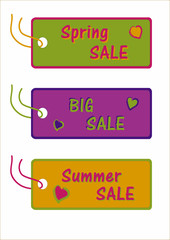 Collection of sale labels in bright colors. EPS 10 vector file
