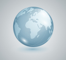 Earth . Blue Planet. Earth. Globe. Banner geography. Realistic globe.Glass globe with world map. Vector illustration 10 eps.
