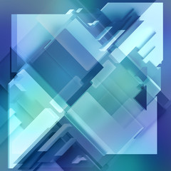 3d render, digital illustration, abstract geometric background, blue tiles, panels, flat layers, fragments, pattern