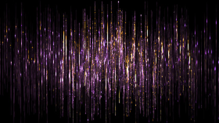 3d render, abstract digital background, vertical purple gold lines, rain, sparkling backdrop,...