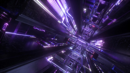 3d render, abstract futuristic background, urban tunnel, ultraviolet light, geometric structure, big data storage, quantum computer, cyber safety, virtual reality